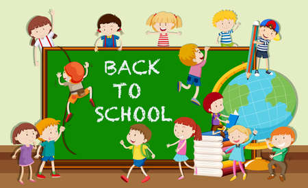 adolescent boy: Back to school theme with students and books illustration