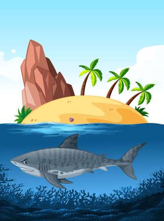 Shark swimming under the ocean illustration