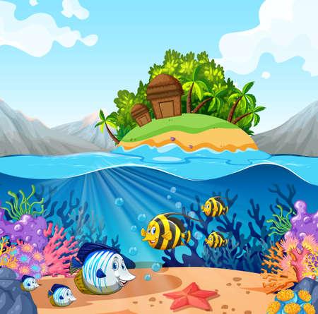Uitzicht op de oceaan met eiland en vissen onderwater illustratie