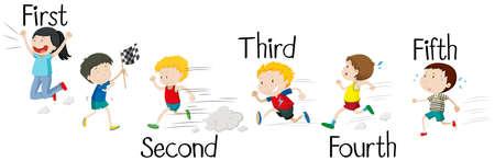 Kids running in race illustration