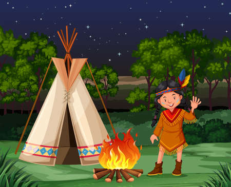 indian student: Red indian at the campfire illustration