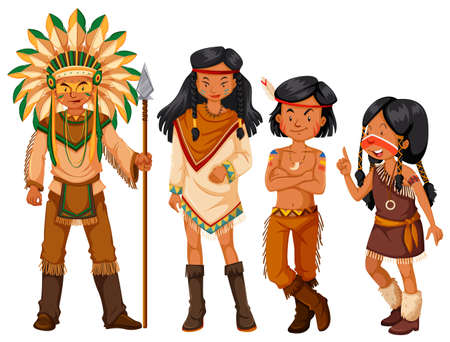 Group of native american indians in costume illustration