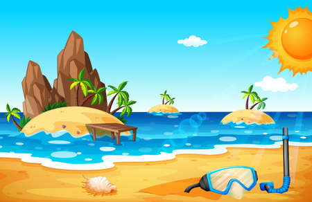 beach scene: Scene with islands and beach illustration