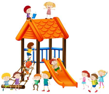 art activity: Children playing on slide illustration Illustration