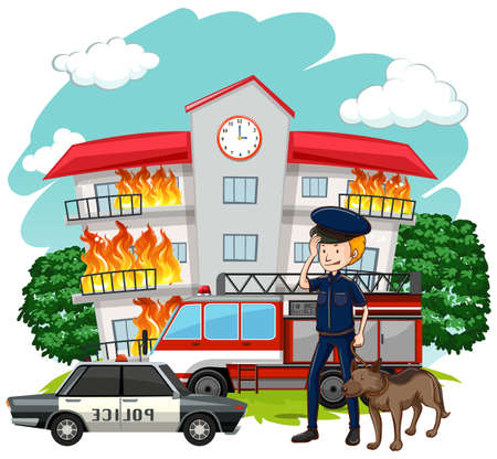 Policeman and dog at fire scene illustration