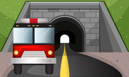 fire engine: Fire engine driving out of tunnel illustration Illustration