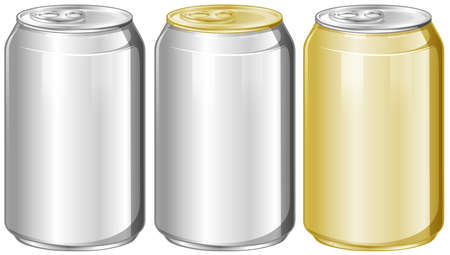 aluminum: Three aluminum cans without label illustration