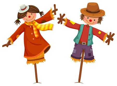 espantapajaros: Dos espantapájaros se ven como niño humano y ejemplo de la muchacha Vectores