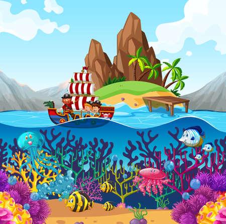 Szene mit Piratenschiff im Ozean Illustration