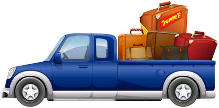 loaded: Pick up truck loaded with bags illustration Illustration