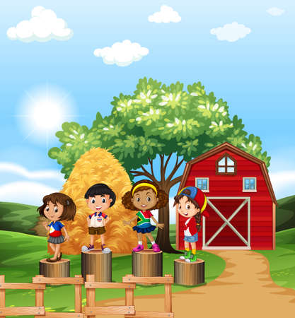 barn girls: Scene with kids in the farm illustration Illustration
