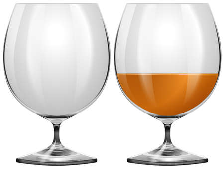 port wine: Glasses empty and with drink illustration