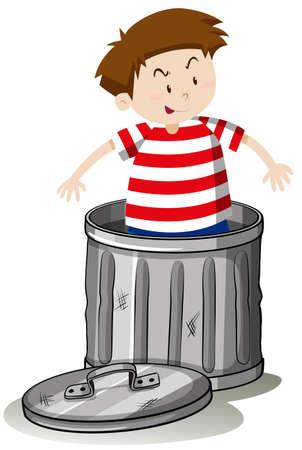 Boy in trashcan alone illustration