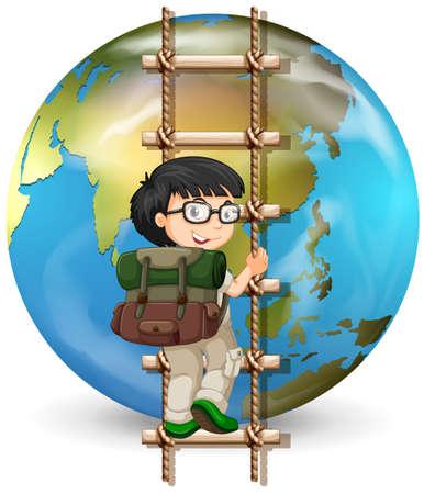 Boy grimper en bois illustration lettre