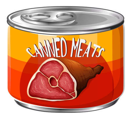 isolated ingredient: Meats in aluminum can illustration