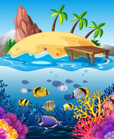 destination: Fish swimming underwater and island illustration