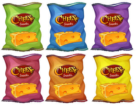 chips: Cheese snacks in six color bags illustration