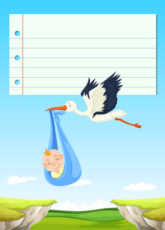 Paper design with bird flying with baby illustration Illustration
