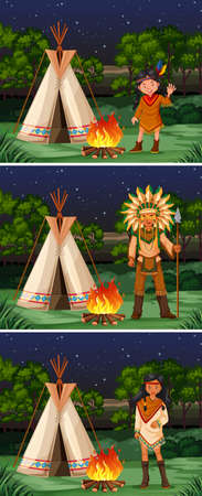 campground: Scene with native american indians at campground illustration