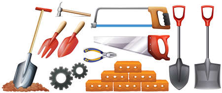 Different kinds of construction tools illustration