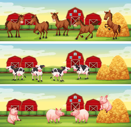 rural scene: Farm animals in the farmyard illustration