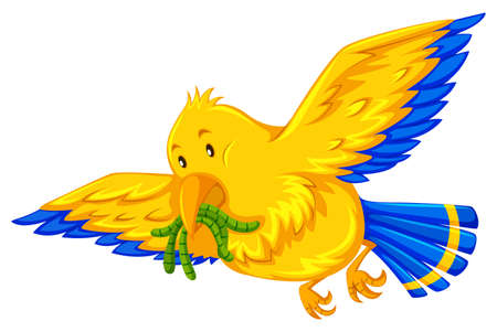 worms: Yellow bird eating little worms illustration
