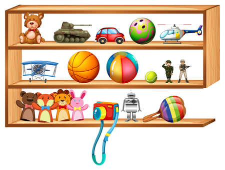 wooden shelf: Wooden shelf full of toys illustration Illustration