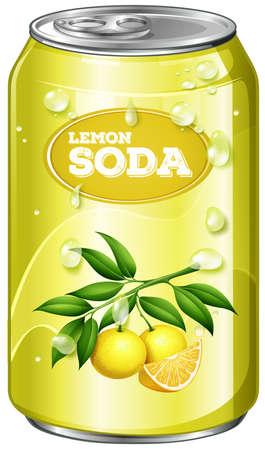tin packaging: Lemon soda in aluminum can illustration Illustration