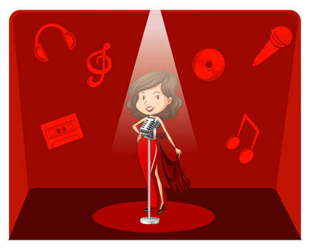 Female singer in red background illustration
