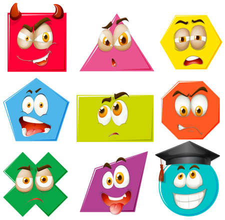 many: Different shapes with facial expressions illustration