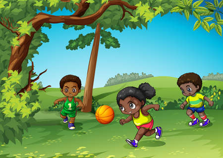 ball park: Three kids playing ball in the park illustration