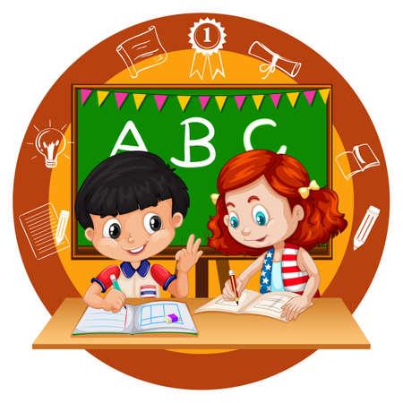 Due studenti a fare i compiti illustrazione