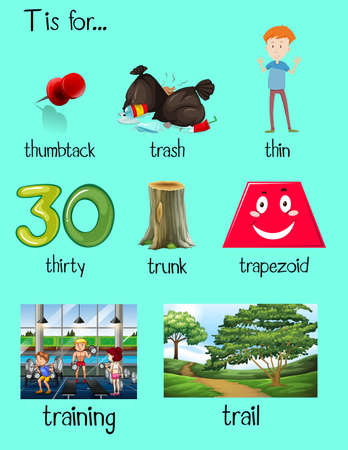 trapezoid: Many words begin with letter T illustration Illustration