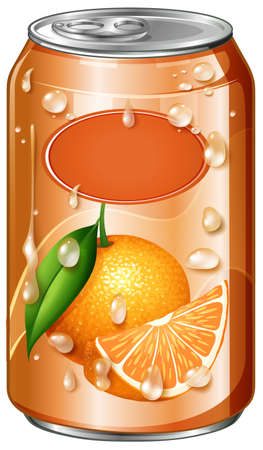 Orange juice in can illustration Illustration
