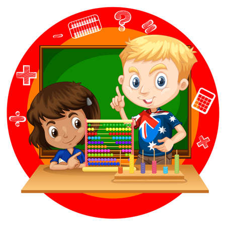 adolescent boy: Boy and girl with abacus illustration