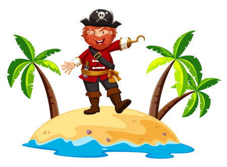 Pirate standing on the island illustration
