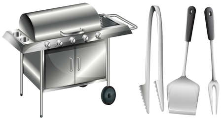 barbecue stove: Barbecue stove and different utensils illustration