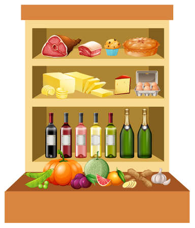 multiple objects: Different kind of food on the shelves illustration