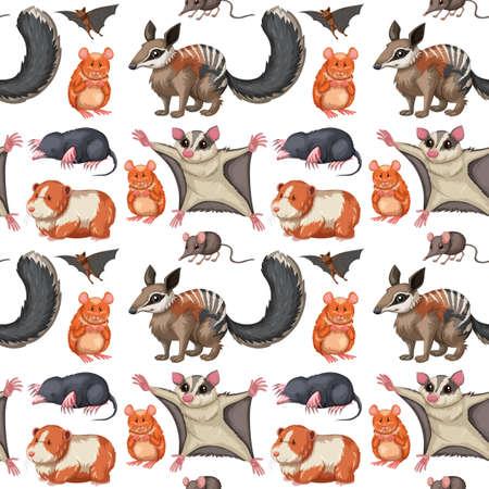 Seamless background with wild animals illustration Ilustrace