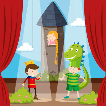 play acting: Kids doing role play on stage illustration Illustration