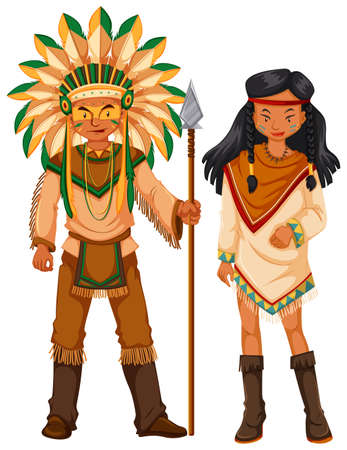 tribe: Two native american indians in costume illustration