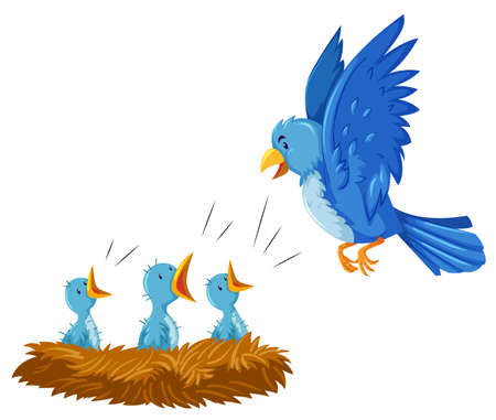 bird flying: Bird and its babies in the nest illustration