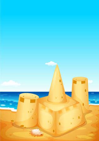 sandcastle: Scene with sandcastle on the beach illustration