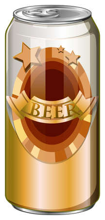 tin packaging: Fresh beer in aluminum can illustration Illustration