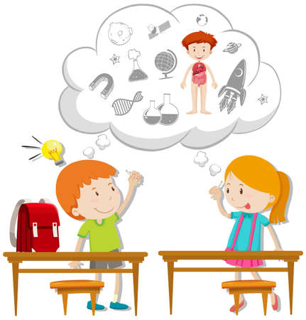 schoolwork: Two students thinking about schoolwork illustration