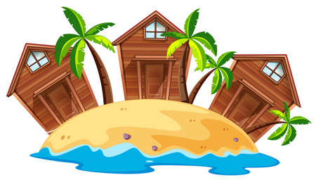 bungalows: Three bungalows on island illustration