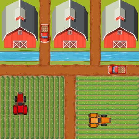 barns: Aerial scene of farmland with crops and barns illustration Illustration