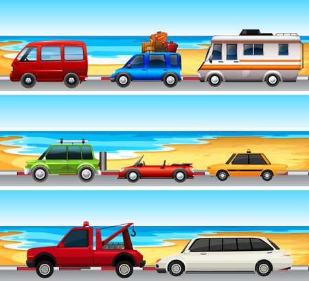 taxi: Coches aparcados en la ilustración de la carretera