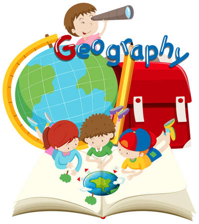 Students and geography subject illustration