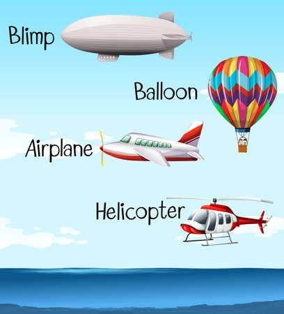 blimp: Different types of air crafts illustration